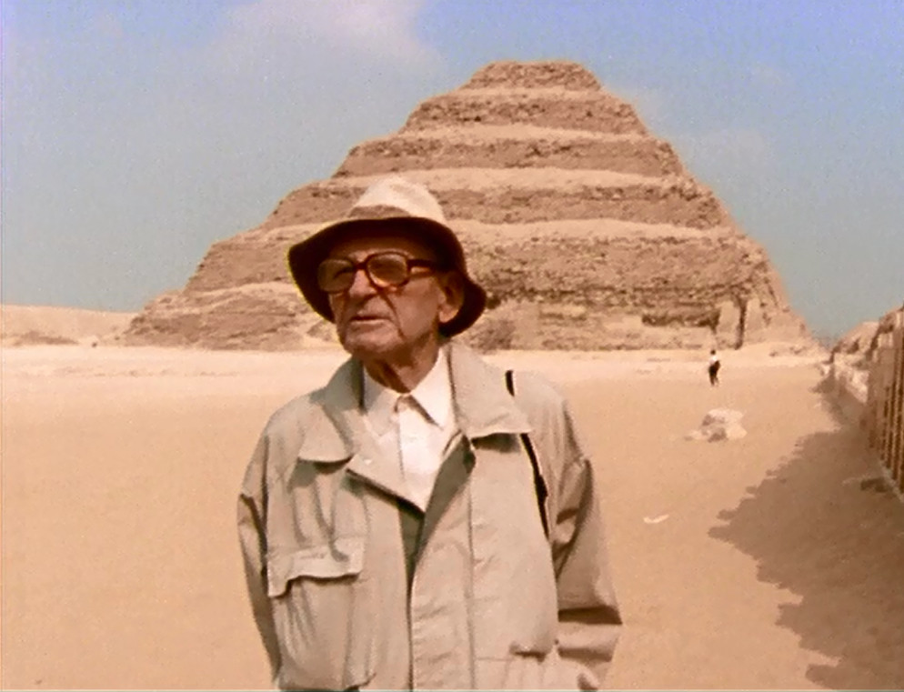 Jean Philippe Lauer near Saqqara Tomb from Ancient Egypt, French Egyptologist, Archeology