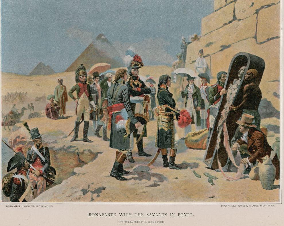Napolean Bonaparte with his savants to Ancient Egypt, archeologists, egyptologists.