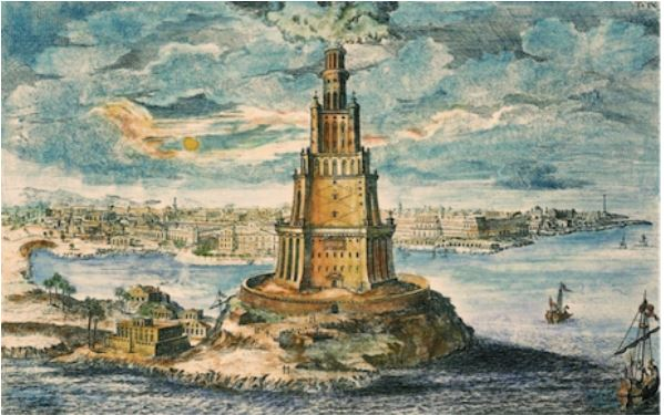 Lighthouse of Pharos; built by Ptolemy I, Greek Dynasty in Egypt